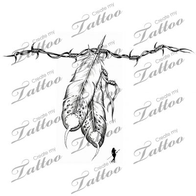 Marketplace Tattoo Barbed wire Feathers #5854 | CreateMyTattoo.com
