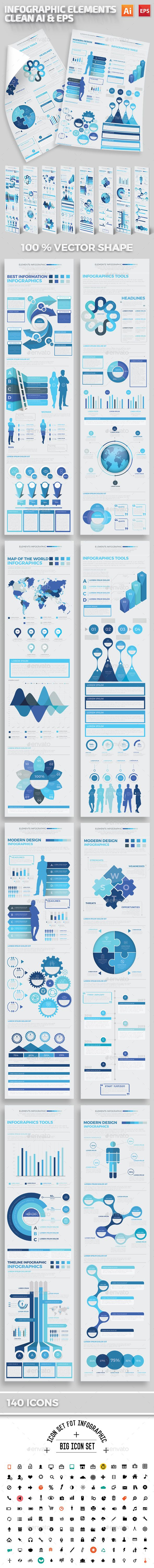 Blue Infographics Elements Template