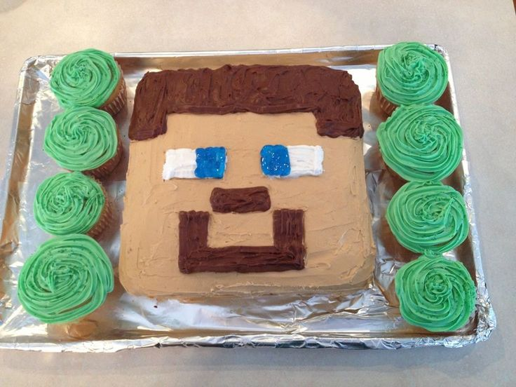 Minecraft Steve birthday cake: This was pretty easy to make with a square cake pan. Then, I used food coloring to make the skin-colored frosting and used the canned decorating frosting for the hair, nose mouth and whites of the eyes. I used blue gel for the eye.
