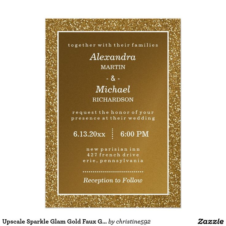 wedding card invite wordings%0A Upscale Sparkle Glam Gold Faux Glitter Wedding  Silver Wedding  InvitationsWedding Invitation WordingWedding