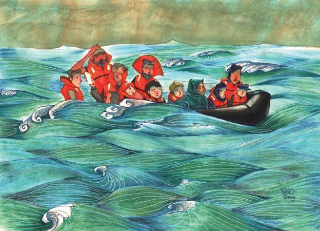 Asylum-seekers on a rubber boat