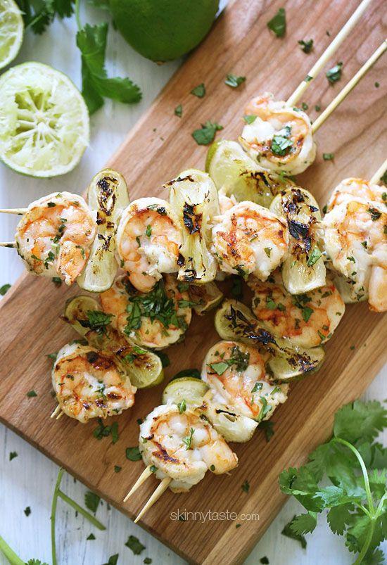 Grilled Cilantro Lime Shrimp Kebabs | Skinnytaste