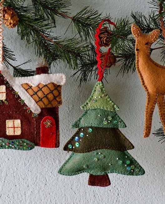 "Walk in the Woods Ornament Set Pattern, Cozy Cottage: 6"" x 5"" ; Snowy Tree: 5"" x 5"" ; Little Deer: 5"" x 6"",   $ 7.00"