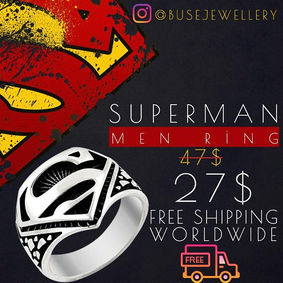 925K Sterling Silver Superman Men Ring Black-White Superman