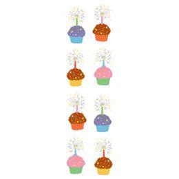 Small Sparkle Cupcake Stickers