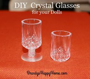 Create DIY beautiful and easy doll sized crystal drinking glasses from salt and pepper shakers found at the Dollar Tree store.