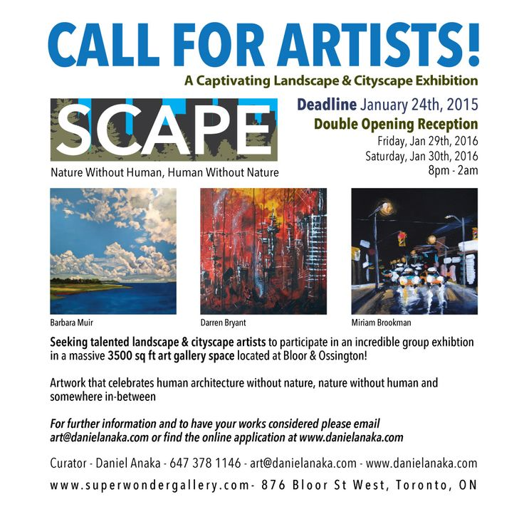 CALL FOR LANDSCAPE & CITYSCAPE ARTISTS! Deadline January 17th, early applicants may be included promotional material. Fill out the online application for consideration! PLEASE SHARE! http://www.danielanaka.com/scape-a-landscape-cityscape-exhibition/ Exhibit your work in a 3500 sq ft gallery located at Bloor & Ossington! All mediums will be considered. Artwork that celebrates human architecture without nature, nature without human and somewhere in-between #art #arttoronto #torontoart…