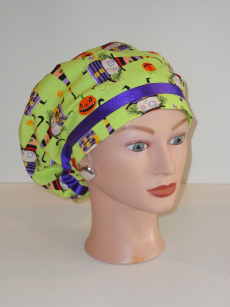 Ribbon Trimmed European Scrub Hat...Halloween/Stitchy Witchy Haunts Greenw/Purple Ribbon ...OR Scrub Hat/Surgical Scrub Hats by TwoSew on Etsy