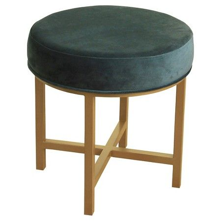 Circle Ottoman with Gold Metal X-Base- HomePop : Target