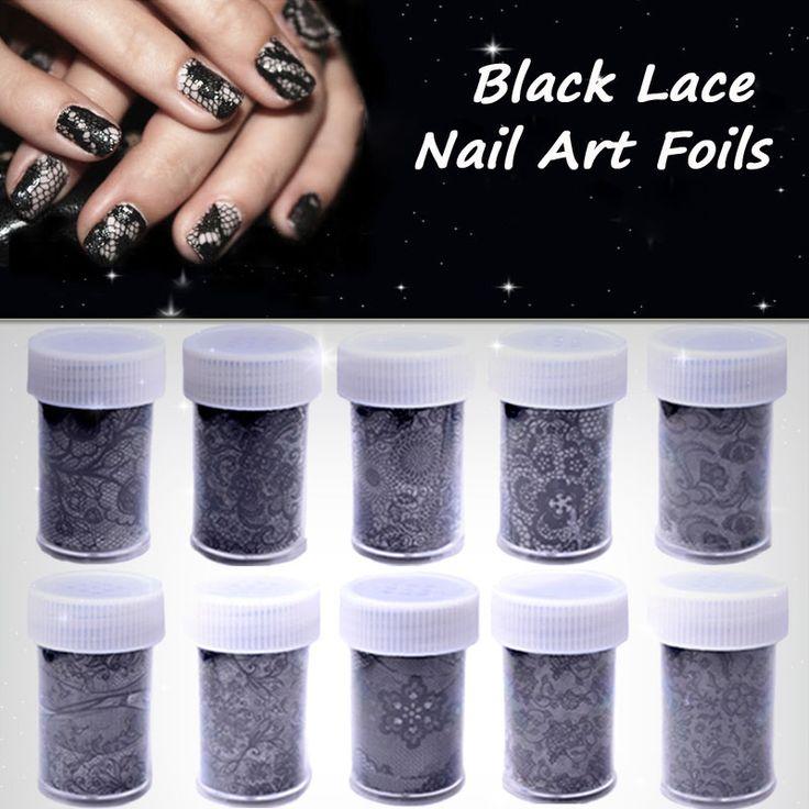 1pcs New Sexy Black Lace Flowers Nail Art Transfer Foil Sticker DIY Beauty Polish Design Print Nail Decorations