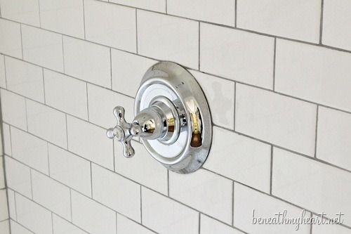 White Subway Tile Shower {Our Master Shower is Finished!} | Beneath My Heart