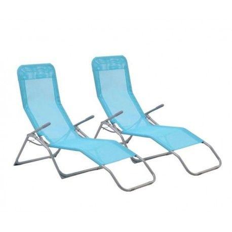 Chaise longue Hespéride Siesta Bleu Lagon - Lot de 2