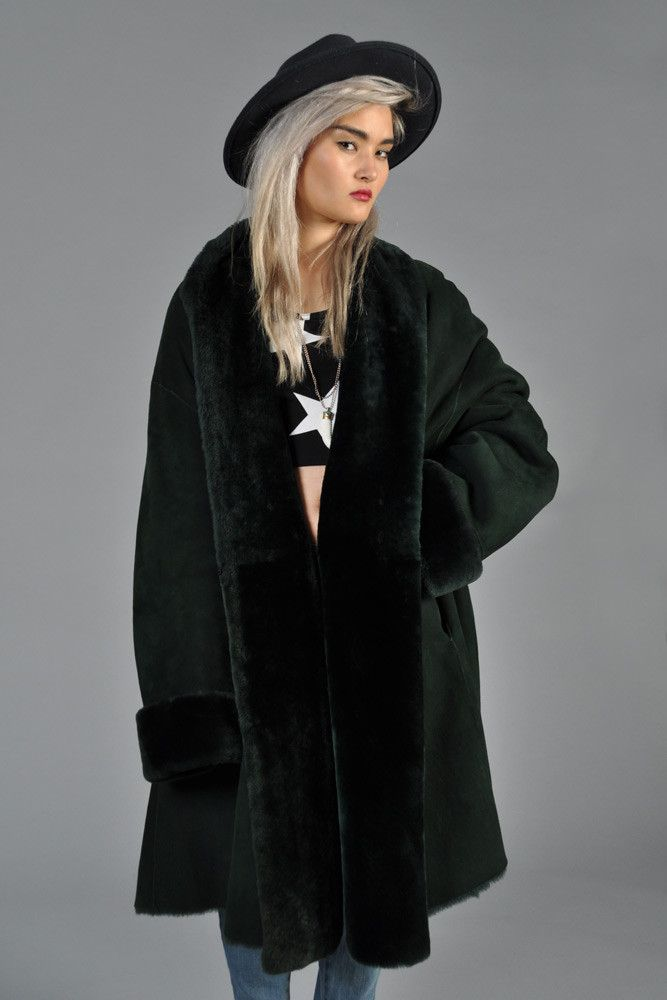 Christian Dior Reversible Green Shearling Swing Coat | BUSTOWN