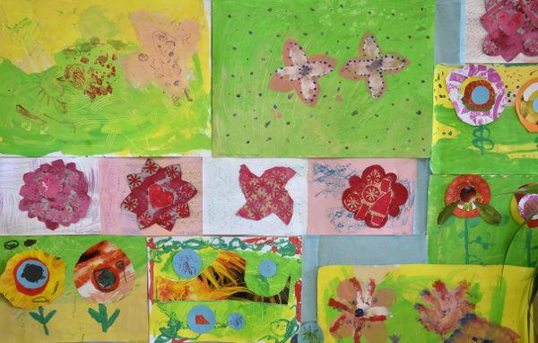 Obrázky z výstavy dětí CVČDomino v Brně. Květy uprostřed jsou tvořeny technikou tisku z koláže.