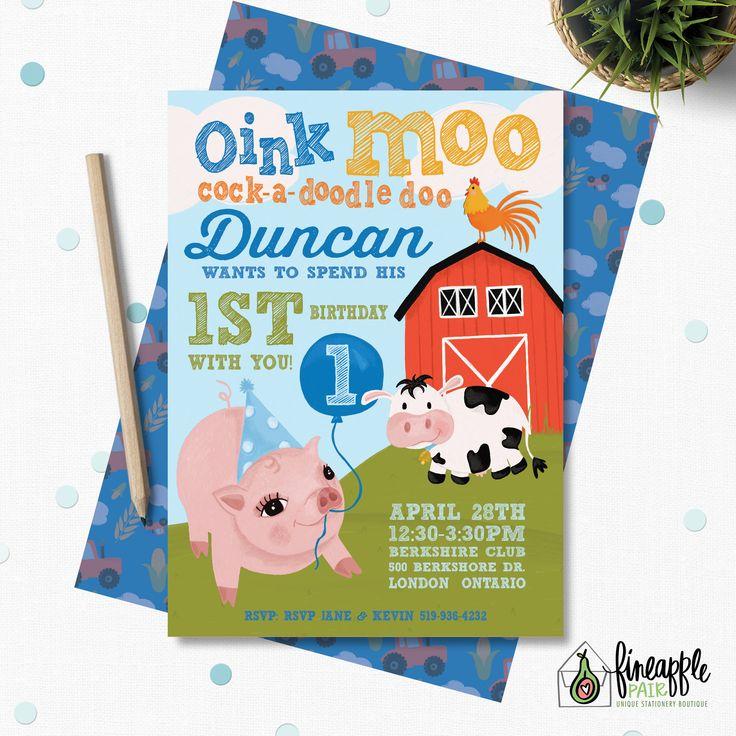 Farm Invitation, Farm Birthday Invite, Pig Invite, Farm Party, Farm Balloons, Party Hat, Blue, pig, cow, rooster, Boy Birthday by FineapplePair on Etsy