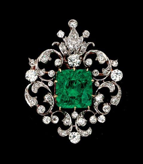 A Rare Victorian Emerald And Diamond Brooch