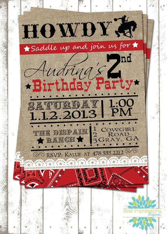 Cowgirl - A Customizable Birthday Invitation | Cowgirl Party | Western Party | Burlap and Lace Invitation | Red Bandana