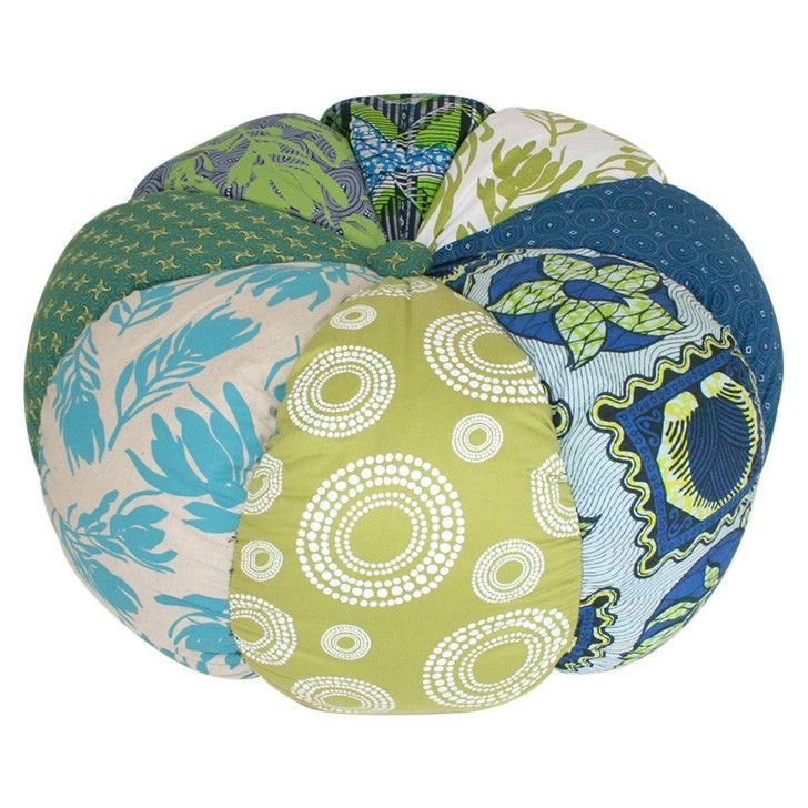 INDIGI DESIGNS | Pumpkin Pouf in Green and Blue - Furniture - 5rooms.com