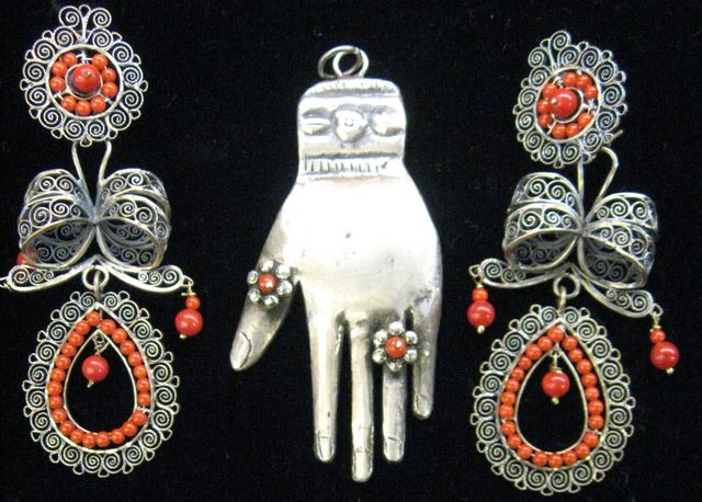 Vintage Mexican Sterling Silver & Coral Jewelry/ Colonial Mexican Silver Style