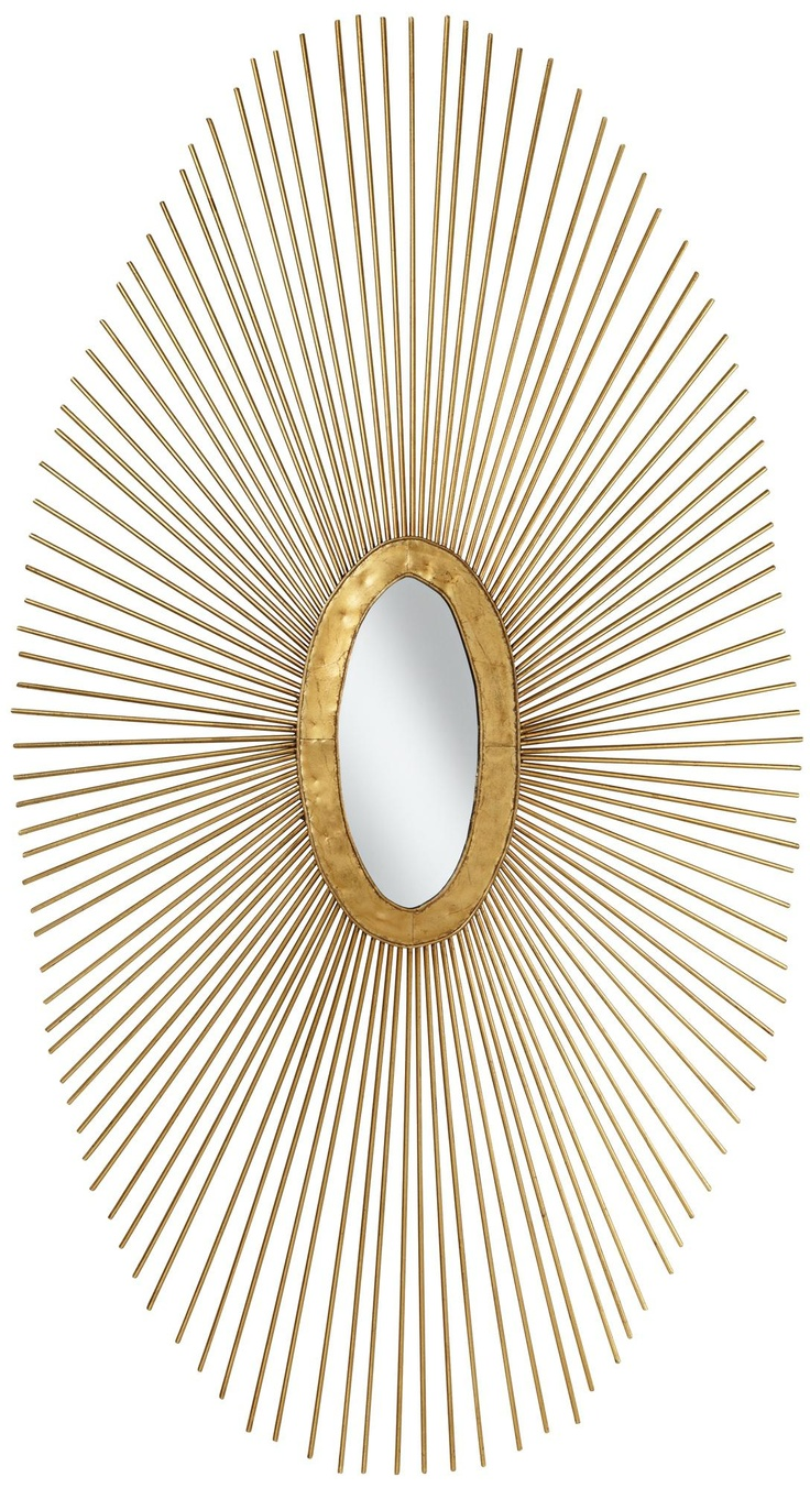 Wire capiz sunburst wall mirror - Accent Contemporary Decor With The Modern Look Of This Oval Metal Wall Art In The Center An Oval Mirror Adds A Touch Of Glamour And Practical