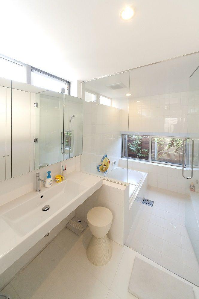 浴室 造作 ガラス張り バスルーム 洗面 施工例 株式会社マブチ工業