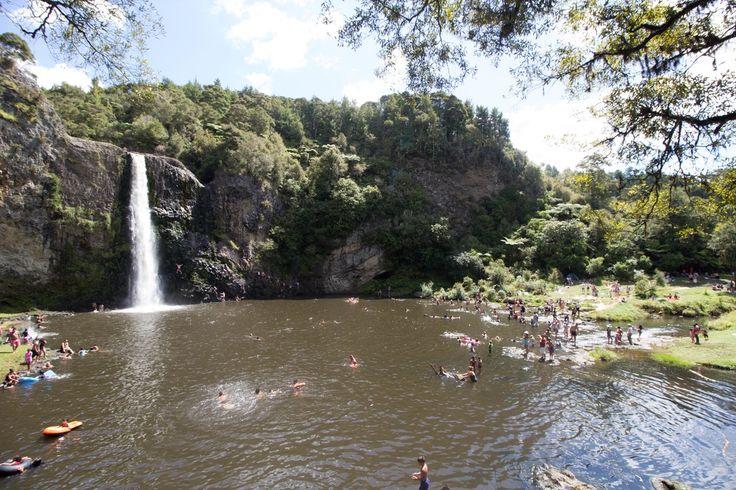 Hunua Falls, a dangerous but beautiful waterfall and swimming hole in the Hunua Ranges in New Zealand