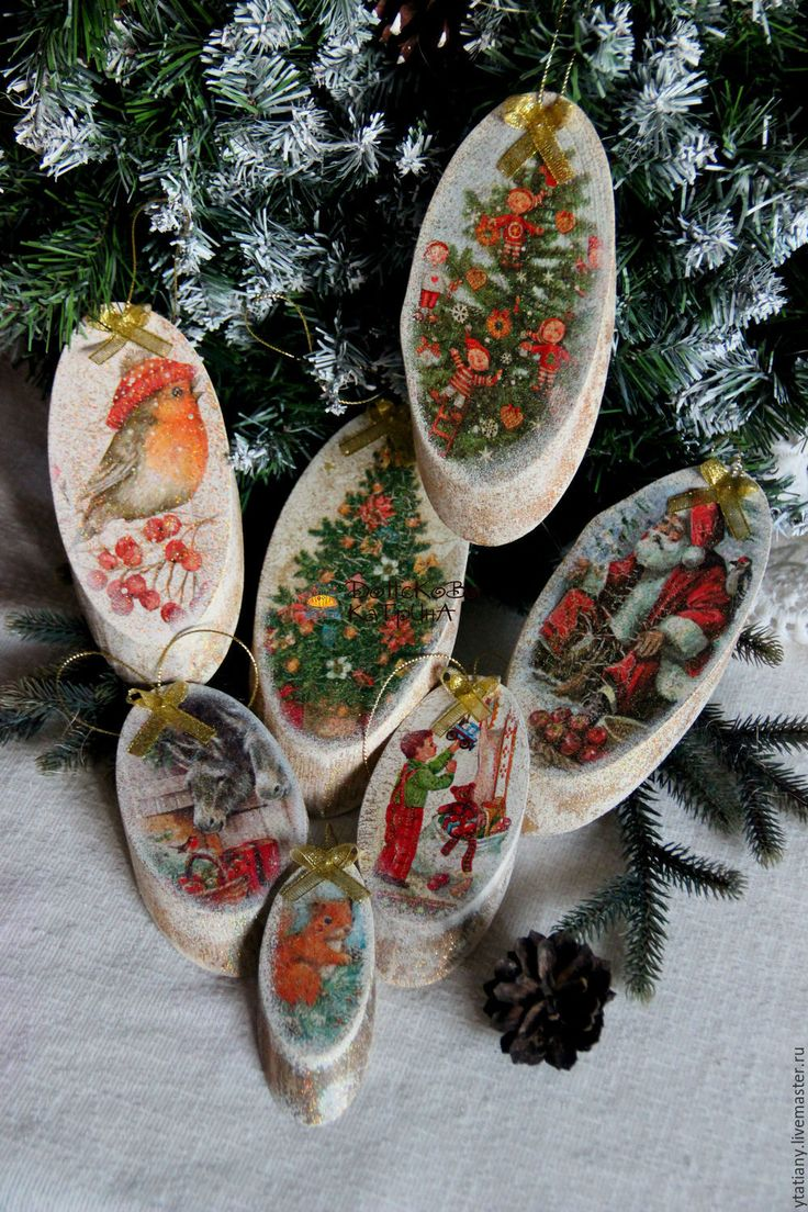 """Купить Набор деревянных украшений """"Новогодние"""" - елочные игрушки, елочные украшения, спил дерева"""