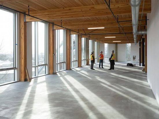 Bullitt Center Masonry Floors & Side Daylighting.  The ceilings here are actually Nail Laminated Timber as opposed to Cross Laminated Timber.