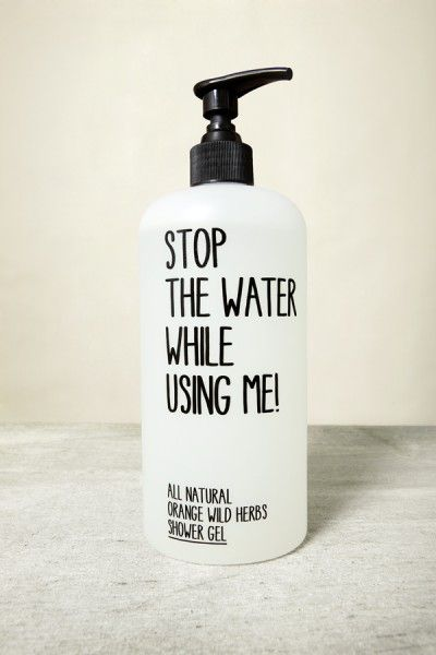 'Stop the water while using me' soap.  Clever minimalist packaging.