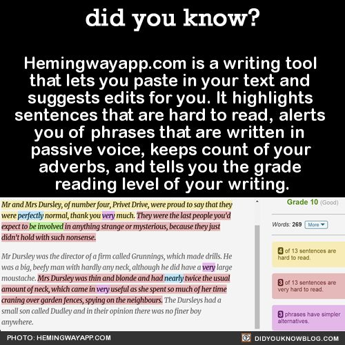 Did you know?  Hemingwayapp.com s a writing tool that lets you paste in your text and suggests edits for you.