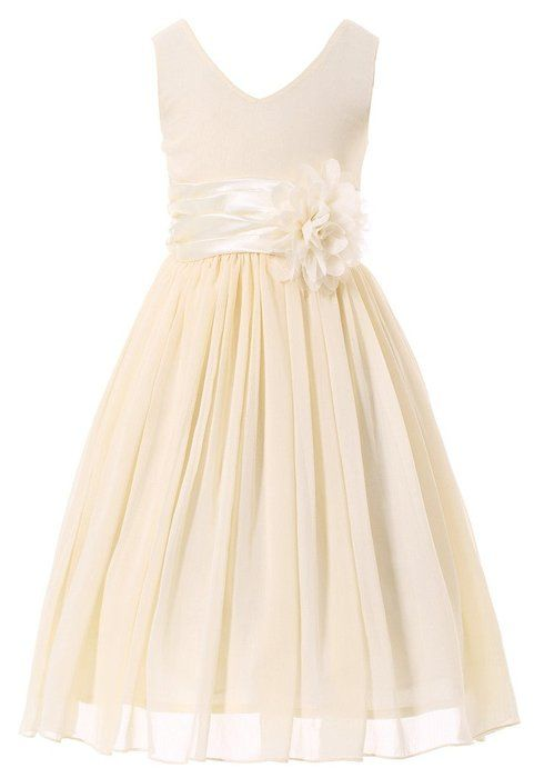 Bow Dream Flower Girl Dress bridesmaid V-Neckline Chiffon Cream Ivory 2