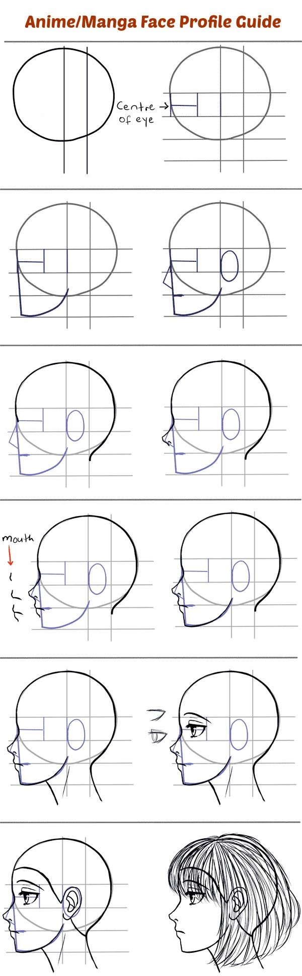 How to Draw the Side of a Face in Manga Style female