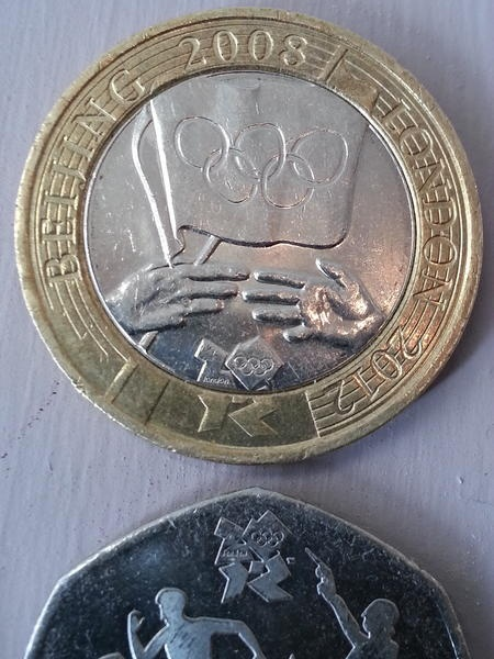 The perfect finish to our olympic 50p collection! The handover £2 coin from Beijing. Sent in by ‏@108_coffee