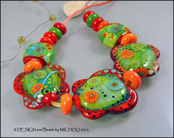 caribbean garden glass bead set by michou pascale anderson