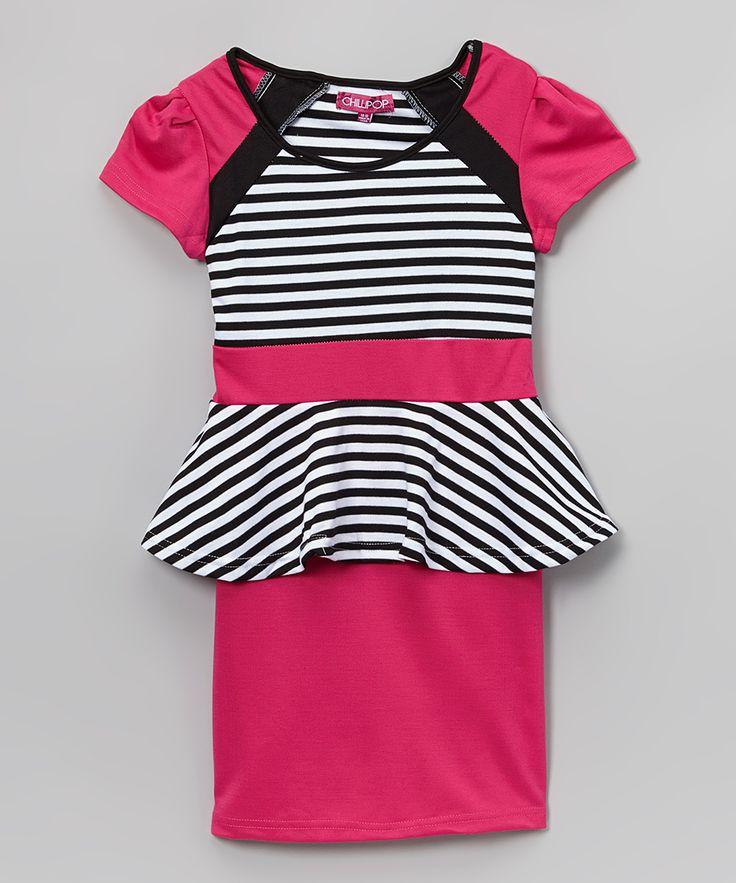 Rose Frost & Ice White Stripe Peplum Dress - Toddler & Girls