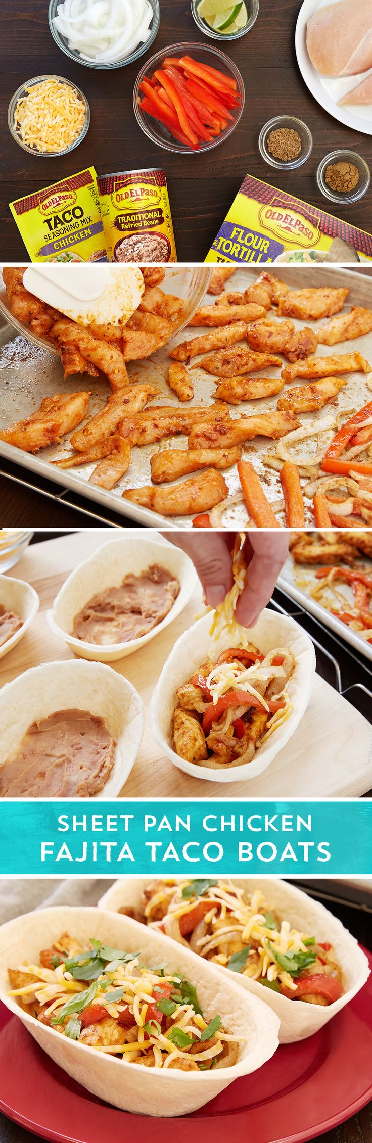 This sheet pan dinner makes fajitas easy for a weeknight winner you'll make again and again. Toss red bell pepper strips and thinly sliced onion with oil and seasonings and pour onto a prepared cookie sheet. Roast for 15 minutes while you prep the chicken strips with oil and seasonings. Add the chicken to the pan and roast for an additional 15 minutes. Heat your Old El Paso™ Taco Boats. Add Old El Paso™ refried beans to the bottom of each boat and top with your fajita meat and veggies. Add…