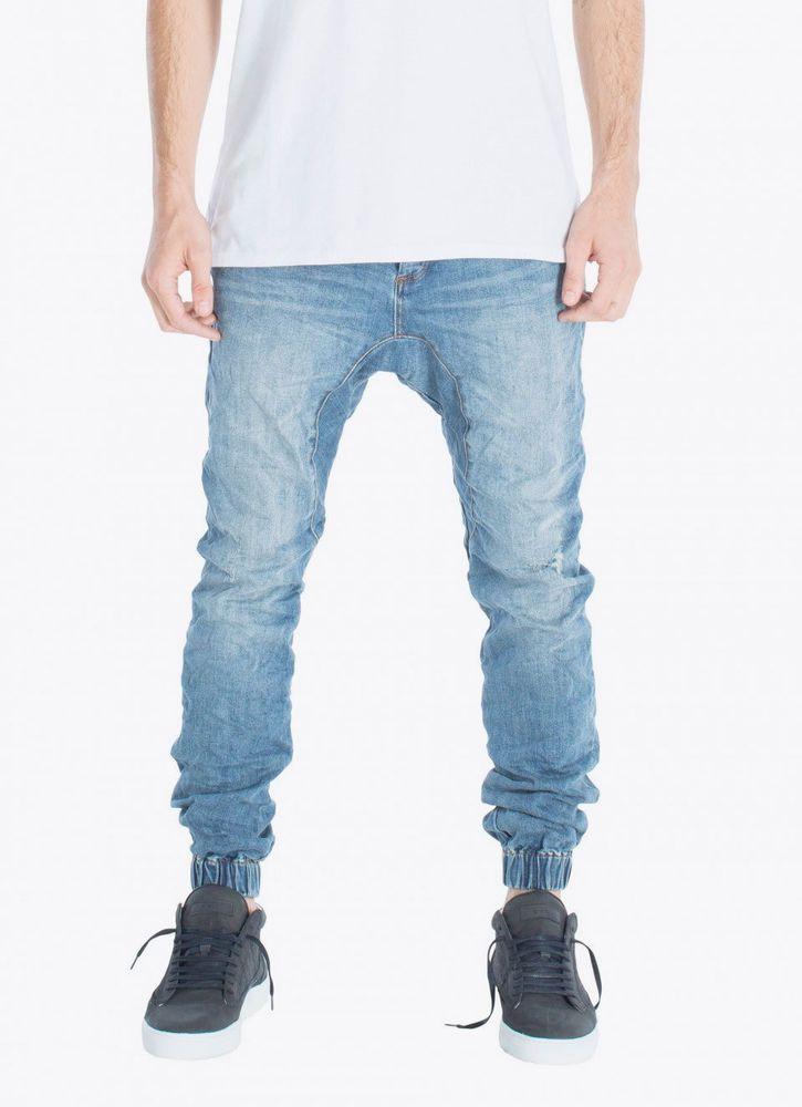 ZANEROBE Men's Designer Slim Slingshot Blow Out Blue Denimo Pants Jeans Joggers #Zanerobe #Slingshot