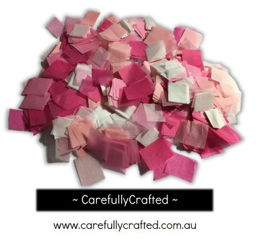 CarefullyCrafted - 25 Grams Tissue Paper Confetti - Pink and White Shades - 0.75 inch Squares  - wedding, wedding planning, event decoration, event, décor, paper pieces, squares, party, party planning, pink confetti, white confetti, confetti mix, tableware http://carefullycrafted.com.au/25-grams-tissue-paper-confetti-pink-and-white-shades-0-75-inch-squares-cs4/