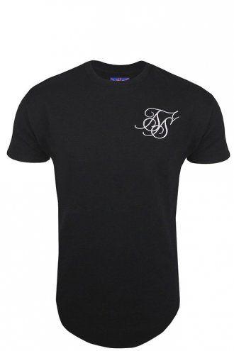 Sik Silk Curved Hem T-Shirt Black