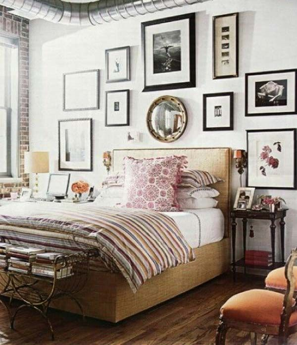 35 Charming Boho-Chic Bedroom Decorating Ideas-Love Bedding and picture arrangement
