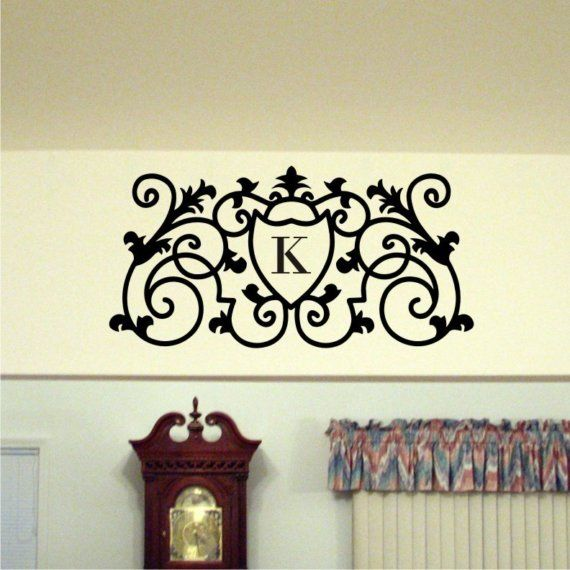 Items similar to family initial personalized monogram scrolled wall decal vinyl wall art x on etsy