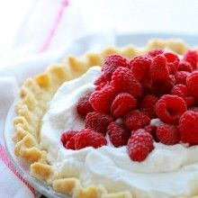 Lemon Cream Pie with Fresh Raspberries at laurenslatest.com