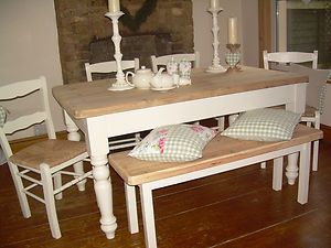 Beautiful Shabby Chic Farmhouse Pine Table and Chairs & Bench painted in F   eBay