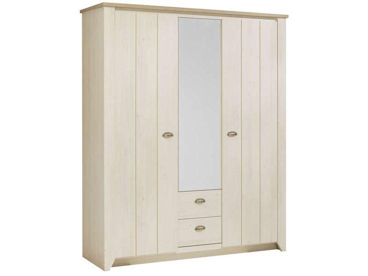 Armoire 3 portes 2 tiroirs ELLEN coloris cerisier blanchi prix promo Armoire Conforama 568.80 € TTC au lieu de 808.50 €