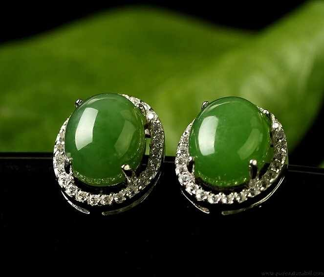 icy itm earring green earrings imitation cabochon jade us gold diamond plate
