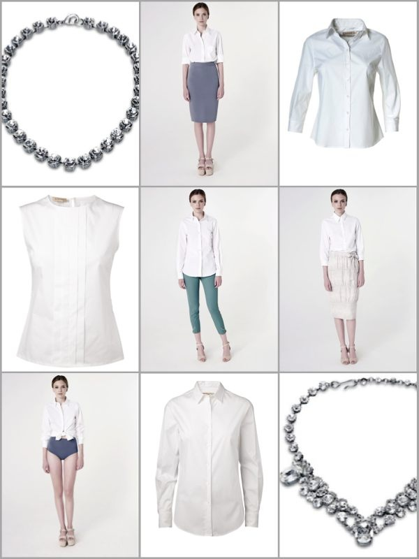 ELISE GUG   Style the white shirt with a bold necklace or skirt for a more fresh look.  Go to homepage and webshop CLICK HERE.