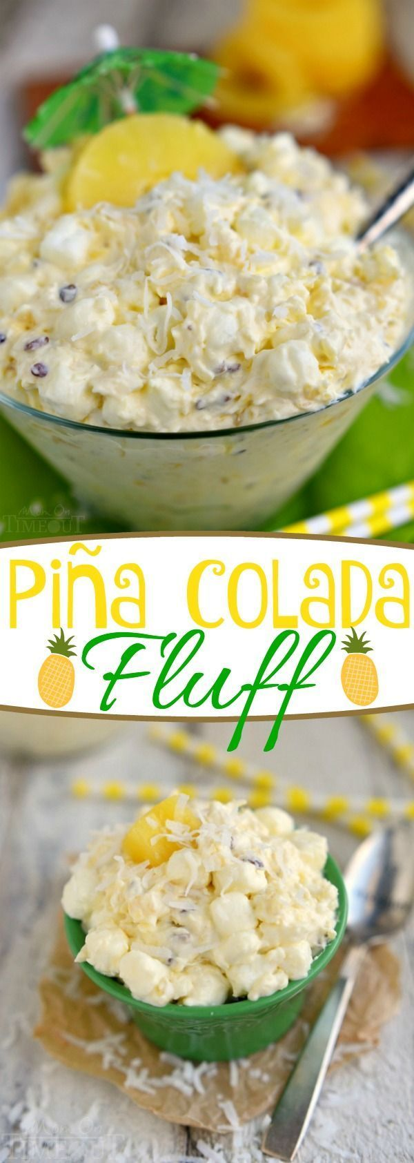 Pina Colada Fluff - a one-bowl, dump-and-go dessert salad that's both incredibly easy and delicious! Wonderful flavors of pineapple and coconut combine in this dangerously easy to eat dessert. The perfect addition to your potluck or party!  // Mom On Timeout