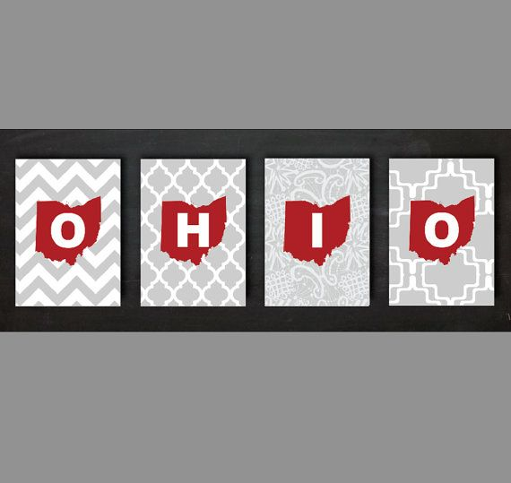 Delightful Ohio State Set Of Four 5x7 Prints By EGallaDesign On Etsy, $18.00