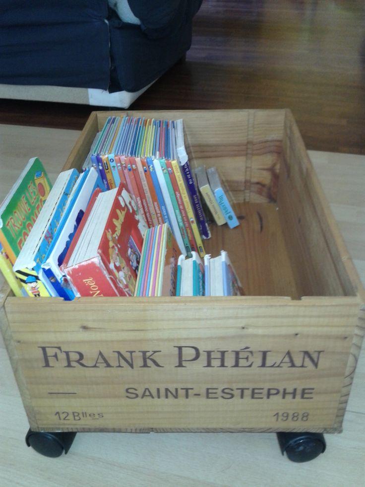 Caisse de vin de r cup devenu bibliotheque rangement - Caisse a vin decoration ...