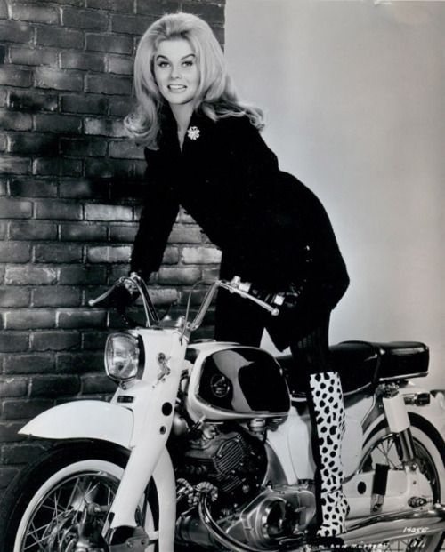 Ann Margaret 1960's fashion. vintage motorcycle